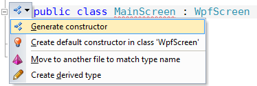 Generate Main Screen Ctor