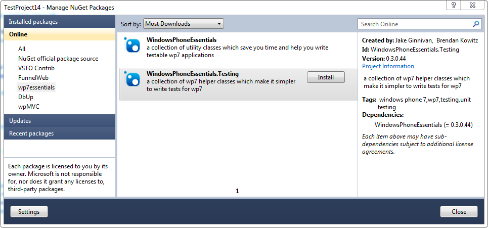 Add NuGet reference to WindowsPhoneEssentials.Testing